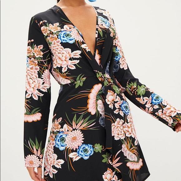 PrettyLittleThing Dresses & Skirts - NWT — Black Floral Long Sleeve Wrap Dress